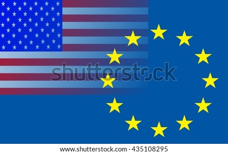 Relationship EU - United States  The American Flag (top left) extending into the circle of stars of the European flag. - stock photo