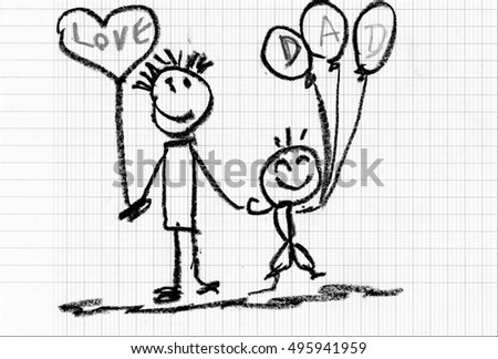 Relationship of Dad and baby - drawn with crayons - Children's Artwork - Father's day concept