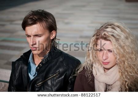 Relationship problem - couple portrait - stock photo