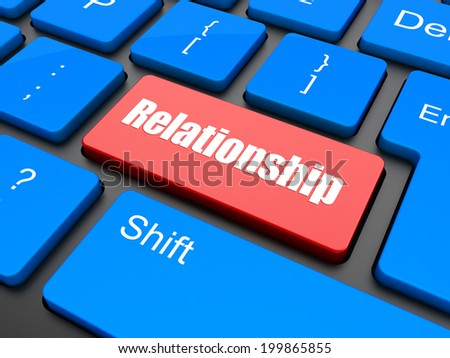 Relationship word button on keyboard with soft focus - stock photo