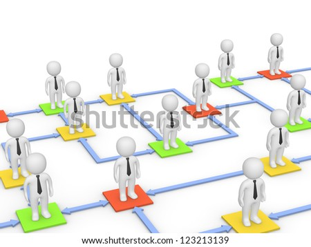 Relationships among business people. 3d rendering. - stock photo