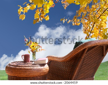 Relax and enjoy the view of  fall sunshine - stock photo
