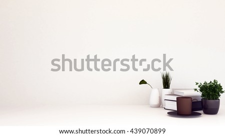 relax area with coffe and flowerpot-3D rendering