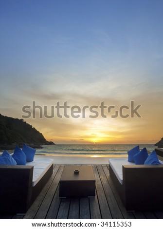 relax at sunset beach - stock photo
