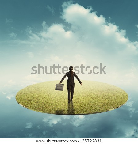 Relax business woman holding bag in floating grass land over the sky