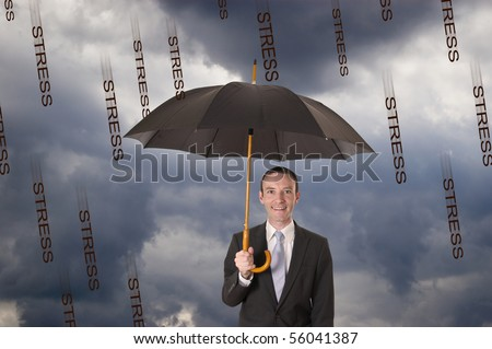 relax businessman protected against stress rain by an umbrella - stock photo