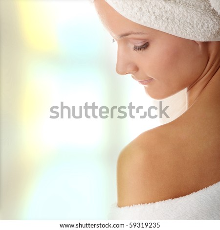 Relax concept:  beautiful nude woman with soft skin - stock photo
