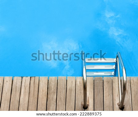 relax concept with pool top view - stock photo