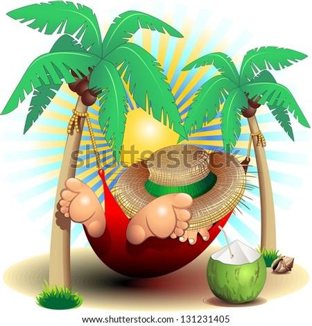Relax Exotic Summer Holidays on Hammock Clip Art - stock photo