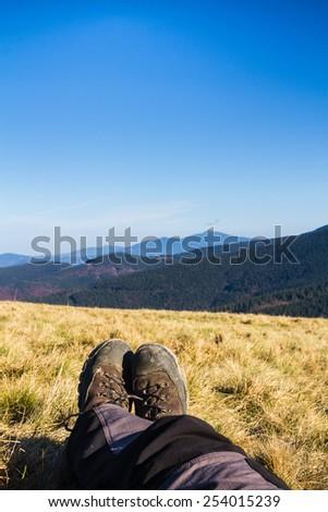 Relax in Beskidy Mountains, Beskid Zywiecki, Poland - stock photo