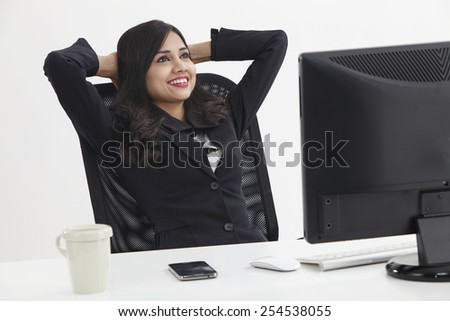 relax in front of the computer - stock photo