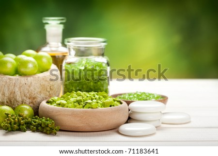 Relax - Luxury Spa minerals - stock photo