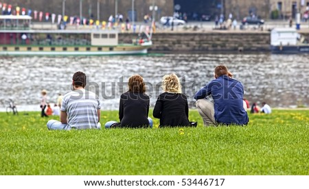 relax on grass - stock photo