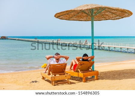 Relax on the beach at Red Sea in Egypt - stock photo
