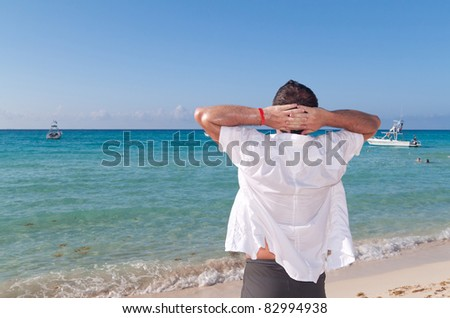 Relax on the Caribbean beach - stock photo