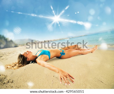 Relax on the sand - stock photo