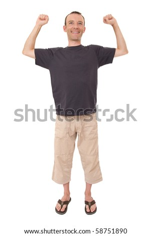 relax smiling man with arms up isolated on white