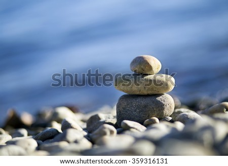 Relax Zen stones on the sea beach