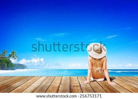 Relaxation Beach Woman Vacation Outdoors Seascape Concept - stock photo