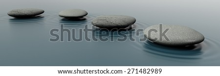 Relaxation. 3D. Stones in Water - stock photo