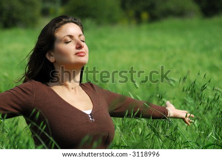 Relaxation, Enjoying Nature - stock photo
