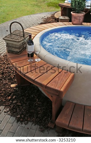 relaxation in luxury bubble bath - stock photo