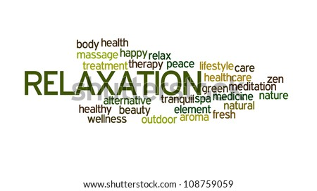 Relaxation info-text graphics and arrangement concept on white background - stock photo