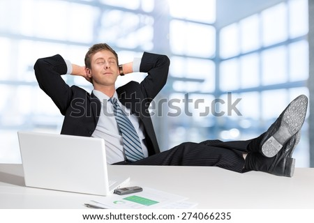 Relaxation, Men, Business. - stock photo
