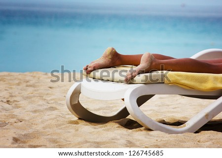 Relaxation on a beach, seascape - stock photo
