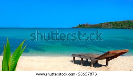 Relaxation on beautiful beach - stock photo