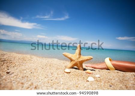 Relaxation on the beach in a peaceful day