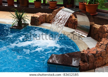 Relaxation pool in a leisure camp - stock photo
