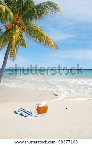 Relaxation Seychelles Style with Coconut Cocktail with straw on Beach - stock photo