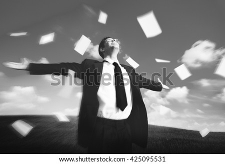 Relaxation Success Freedom Businessman Concept - stock photo