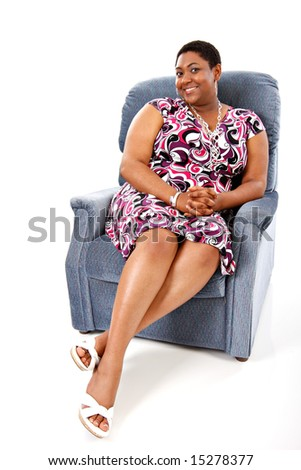 Relaxed African American Female Sitting in a Sofa
