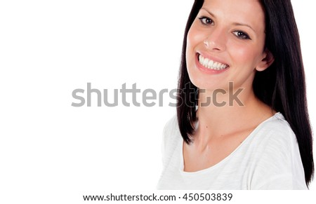 Relaxed brunette woman in the park showing her perfect smile