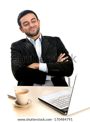 Relaxed Business man working with computer and smiling