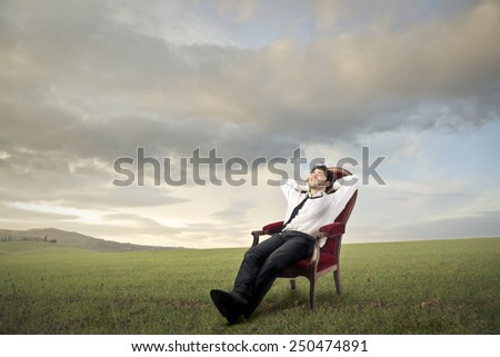 Relaxed businessman in a meadow  - stock photo