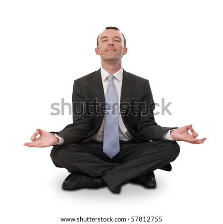 relaxed businessman meditating isolated on white - stock photo