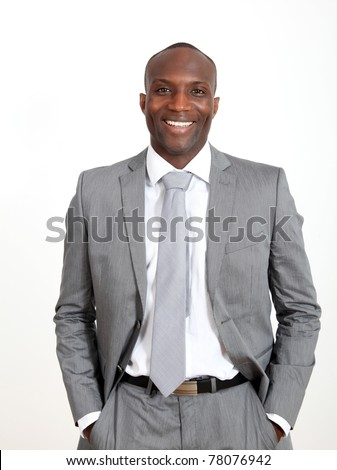 Relaxed businessman on white background