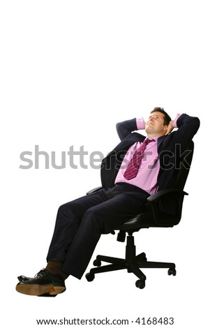 Relaxed businessman sitting in his office chair, leaning back slightly with both palms supporting head,isolated. - stock photo