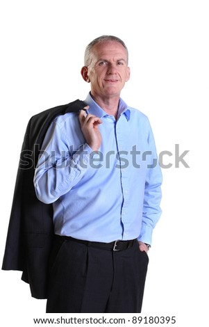 Relaxed experienced businessman with his jacket over his shoulder