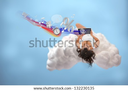 Relaxed girl connected to cloud computing to use different applications