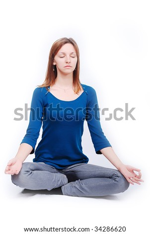 Relaxed girl isolated - stock photo