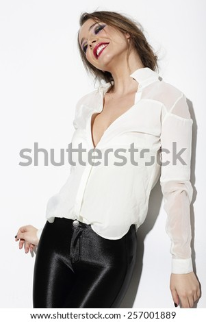 Relaxed Happy Woman in White Blouse - stock photo