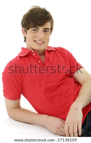 relaxed man sitting on the floor - stock photo