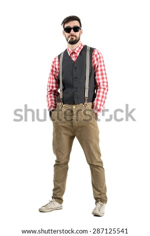Relaxed manly bearded hipster with cigarette in his mouth. Full body length portrait isolated over white studio background.  - stock photo