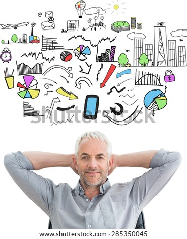 Relaxed mature businessman with hands behind head against brainstorm graphic - stock photo