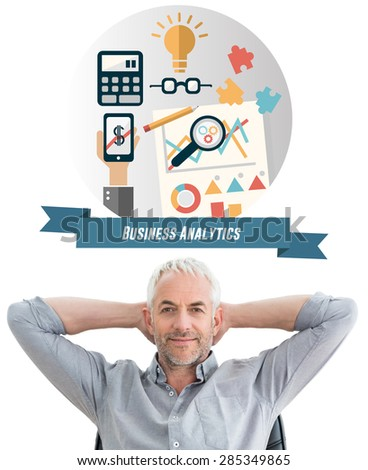 Relaxed mature businessman with hands behind head against business analytics graphic - stock photo