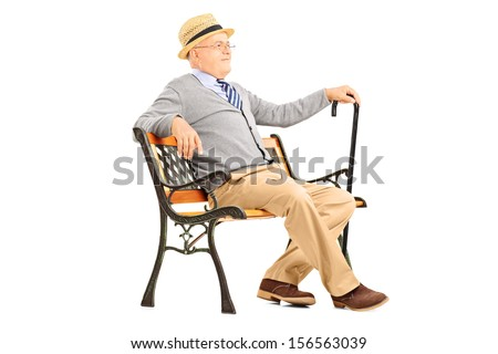 Relaxed senior man sitting on a wooden bench and thinking isolated on white background - stock photo